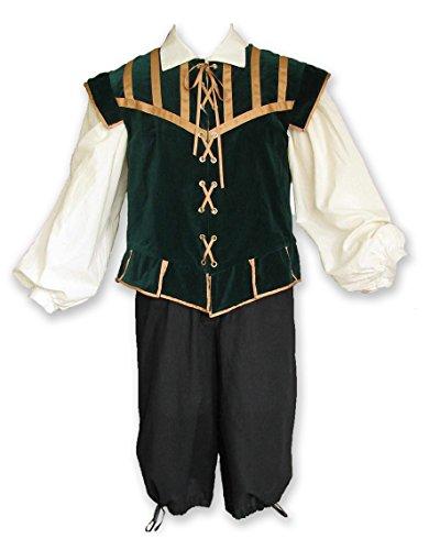 Renaissance Doublet for Men, 3 Pc Halloween Costume, Game of Thrones, Ren Faire, Mens Got Cosplay Custom Wedding Black