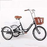 M-YN Triciclo Adulto 16'Bicicleta de Triciclo para Adultos de Tres Ruedas, Bicicleta de Carreras de Carreras de tictura Triciclo, para Compras Deportes de Picnic al Aire Libre (Color : Black)