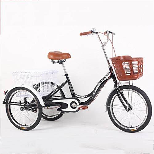 """M-YN Triciclo Adulto 16""""Bicicleta de Triciclo para Adultos de Tres Ruedas, Bicicleta de Carreras de Carreras de tictura Triciclo, para Compras Deportes de Picnic al Aire Libre (Color : Black)"""