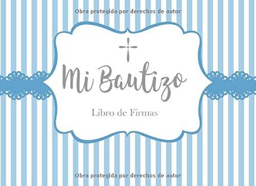 Mi Bautizo Libro de Firmas: Recuerdos y Consejos a los Padres Portada de Rayas Azules y Blancas con Encaje