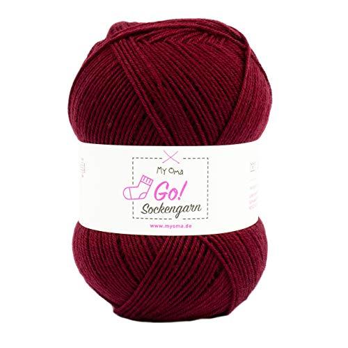MyOma Wolle zum Socken Stricken Sockengarn Go! Bordeaux (Fb 308) - rote Sockenwolle einfarbig – Sockenwolle 4fädig – Nadelstärke 2,5-3mm – Socken Wolle 100g – Wolle zum Socken Stricken
