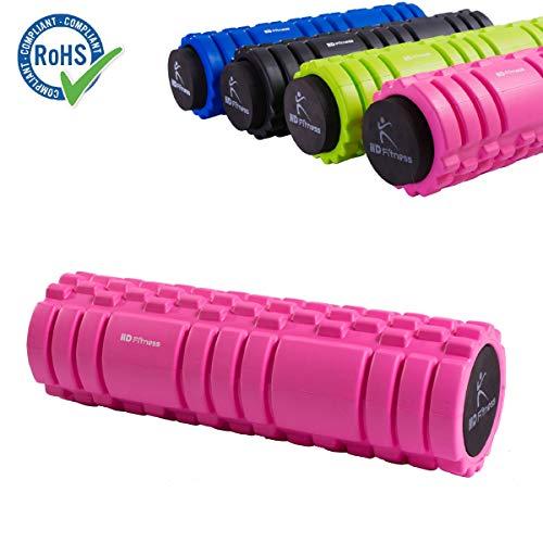 HD Fitness 2 in 1 Faszienrolle rosa Yogarolle mit Massagerolle Hohlkern inklusiv Eva Schaummantel 3D Oberfläche Bester Massage Yoga 34cm;RoHS Geprüft pink