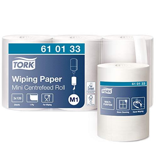 Tork 610133 Mehrzweck Papierwischtücher für das M1 Innenabrollung Mini Spendersystem / 1-lagiges stabiles Papier in Weiß / 3 x 120m