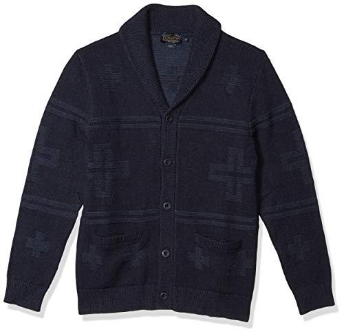 Pendleton Men's Cross Motif Cardigan Sweater, Navy/Blue, SM