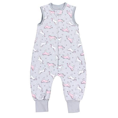 TupTam Baby Unisex Winter Schlafsack mit Beinen, Farbe: Einhorn Grau/Rosa, Größe: 80-86