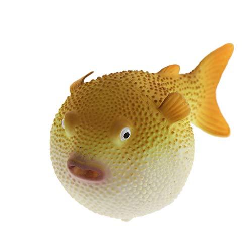 perfk Künstlicher Kugelfisch Aquarium Fisch Tank Dekoration - Gelb