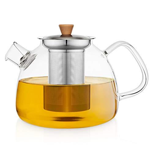 Buntfink TeaPot I Teekanne Glas mit Siebeinsatz für 1.300 ml I Glasteekanne mit Siebeinsatz aus Borosilikatglas I Teekanne mit Siebeinsatz und herausnehmbarer Filter (Edelstahlsieb)