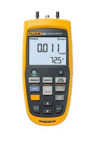 Fluke 922 Airflow Micromanometer with Bright Backlit Display, +/- 0.6 psi Pressure, 16000 fpm Velocity, 99999 cfm Volume