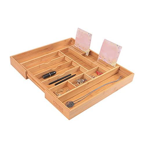 Bandeja de organizador de cajones Organizador de cajones de utensilios de bambú - Cocina ajustable Organizador de cajones de plata Se adapta a pequeños y grandes utensilios Organizador de cajones de u