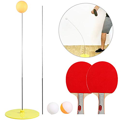 Lixada Entraîneur de Tennis de Table - Ensemble de Pratique d'Entraînement de Base pour Raquettes Et Balles Manche en Bois Raquette de Tennis de Table Raquette de Tennis de Table Portable