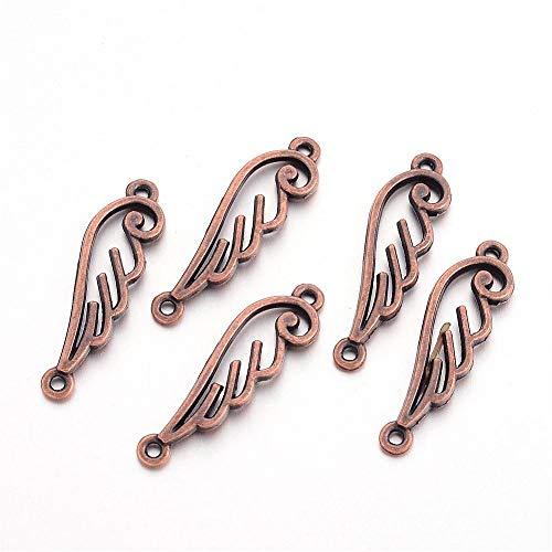Perlin - 30 Flügel Engel Metallperlen Engelsflügel Perlen 33mm Kupfer Schmuck Anhänger Ketten Metall Spacer DIY für Halskette M566 x3