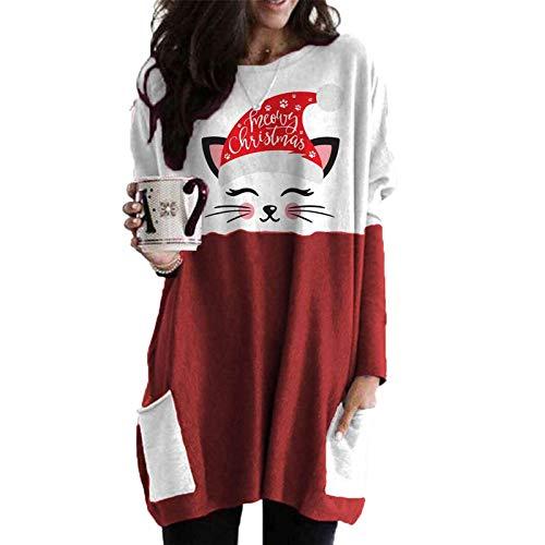 Padaleks Women's Christmas Sweater Dress - Reindeer Ugly Christmas Sweatshirt Pullover Shirt Dresses with Pocket