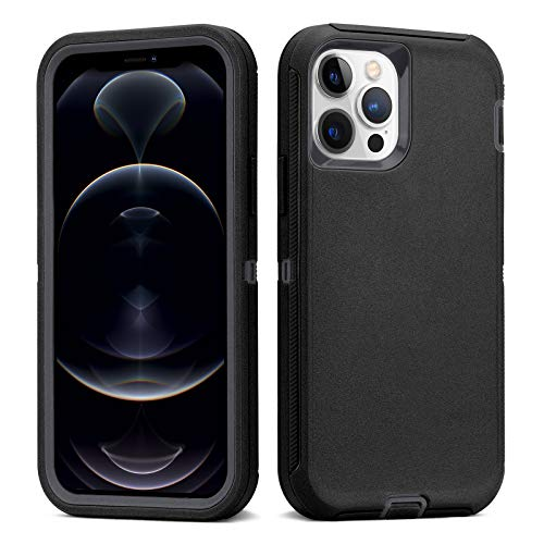 NIAFEYA Defender Protective Case Compatible with iPhone 12 Pro max, Heavy Duty Full Body Protection 3 in 1 Rugged Shockproof Drop-Proof 3-Layer Cover 6.7 inch (Black/Dark Grey)