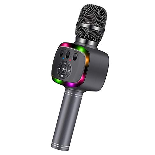 BONAOK Wireless Bluetooth Karaoke Microphone with Dual Sing, LED Lights, Portable Handheld Mic Speaker Machine for Kids Toys/iPhone/Android/PC/Outdoor/Birthday/Home/Party(Space Gray)