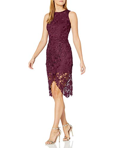 Betsy & Adam Women's Lace Cocktail Dress, Wine, 12