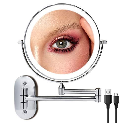 Recargable Espejo Maquillaje con Luz LED Aumento 1X/10X, 8 Inch Espejo de Tocador Iluminado de Pared Regulable Luces con 3 Luces de Color, Pantalla Táctil de 360 Grados, Espejo de Afeitar Cromado