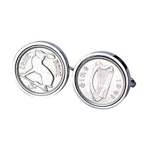 1961 irlandais Coin Boutons de manchette Boutons de manchette - Véritable pièce de six pence Irlande 1961