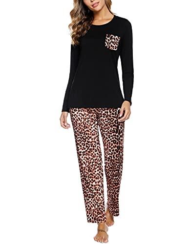 NA Pijamas Mujer, Pijama Largo Mujer Conjunto Pijama Mujer con Cuello Redondo Ropa de Casa Conjunto Estampado Pijama Mujer 2 Piezas con Bolsillo Suelto Cómodo para Hogar Colore M