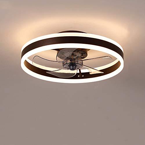 Lámpara de techo Fan, ventilador de techo ultra silencioso con iluminación y función de ventilador, control remoto ajustable de tres colores, 6 velocidades (Brown, 50cm)