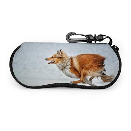 AEMAPE Estuche blando para gafas Running Sheepdog Estuche para gafas de sol personalizado Estuche ligero portátil con cremallera de neopreno Estuche blando para mujer Estuche para gafas