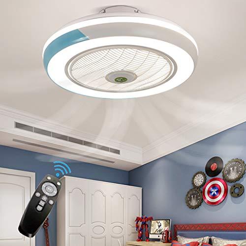 Ventilador de techo lámpara de luz creativa lámpara de techo moderna llevó regulable con iluminación control remoto invisible dormitorio sala estar macarrón habitación los niños tranquilos,Azul