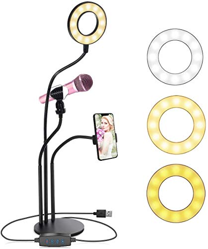 Pacificdeals 3 in 1 Professional Live Stream Kit with Small USB Ring Light Mic Holder Cell Phone Web cam Holder Premium Stand for Makeup, Video Shoots, Live Video Calling, etc. 3 Mode Light - Black