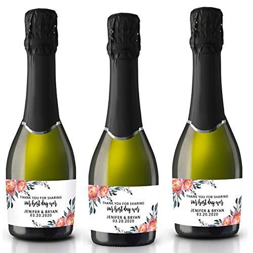 Templett W43 Boho Mini Champagne Bottle Label Template Burgundy Floral Wedding Mini Champagne Sticker Bridal Mini Champagne Labels