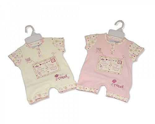 Baby Girl Coton Grenouillère avec broderie et Applique Crème – 3/6 mois