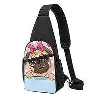 パグ犬 ボディバッグ ワンショルダーバッグ 斜めがけバッグ ショルダーバッグ ポーチ付き オシャレ メンズ レディース