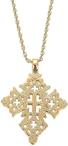 YOUZYHG co.,ltd Necklace Ethiopia Cross Pendant Necklace for Women Men Gold Color Trendy African Ethnic Jewelry Necklace