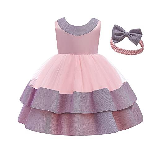 NNJXD Bebé-niñas Elegante Princesa Vestir Inclinarse Cumpleaños Fiesta Vestido de Bola Tamaño (80) 6-12 Meses 745 Rosa-A