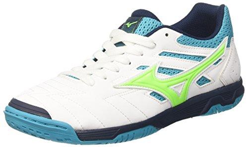 Mizuno Sala Classic 2 In, Zapatos de Futsal Hombre, Multicolor (White/greengecko/peacockblue 35), 44.5 EU