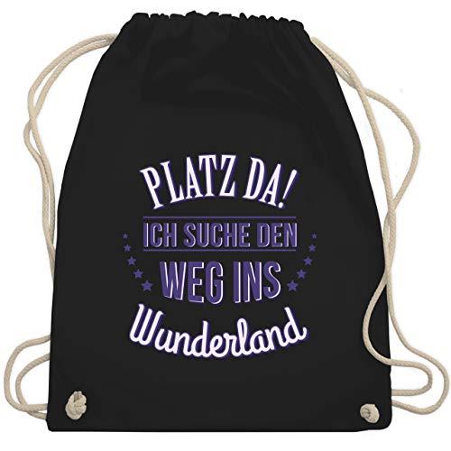 Sprüche - Platz da - Ich such den Weg ins Wunderland - Unisize - Schwarz - festival bag blau - WM110 - Turnbeutel und Stoffbeutel aus Baumwolle