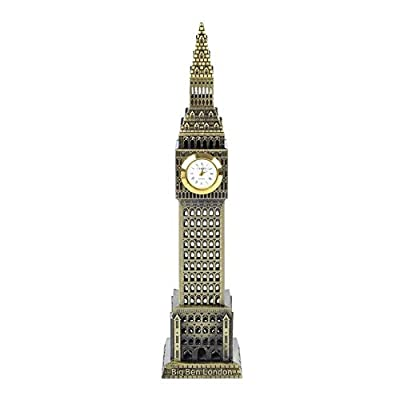 PROW 7.5 Inch England Big Ben State Building Model Metal Statue Collectible Figurine for Personalised Gifts Tourism Souvenir Desktop Decoration (Bronze)
