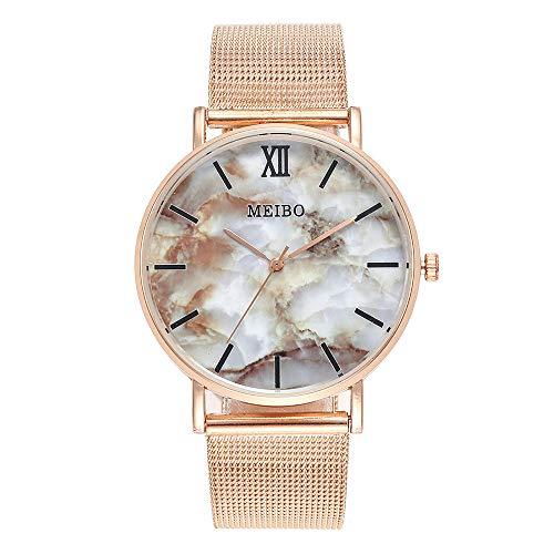 Damen Armbanduhr, LANSKIRT MEIBO Damen Casual Quarzuhren Edelstahl Marmor Uhr Analoge Armbanduhr (B)