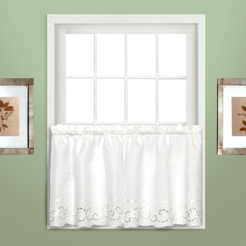 American Curtain and Home Theresa Tier, 60-Inch by 36-Inch, White/White, Set of 2