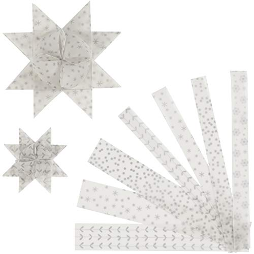 Papier-Sternstreifen, B: 15 + 25 mm, D: 6,5 + 11,5 cm, weiß, silber, Pergamentpapier, 48 Stück