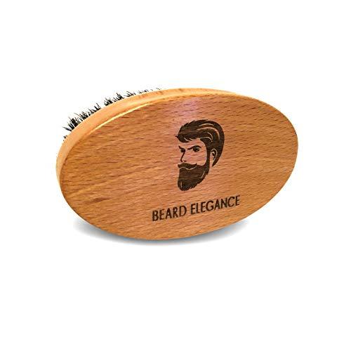BEARD ELEGANCE Bart-Bürste Oval - Hochwertige Bartbürste Aus Buchenholz Mit Echten Wildschweinborsten - Für Die Perfekte Bart-Pflege