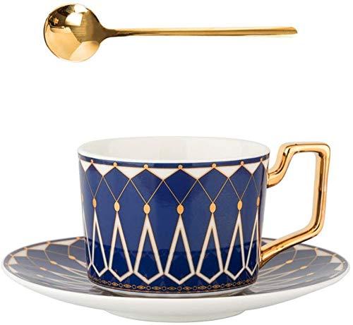 Lifattitude Teetasse / Kaffeetasse, 209 ml, Knochenporzellan, Keramik, matt, glasiert, mit passenden Untertassen (blau)