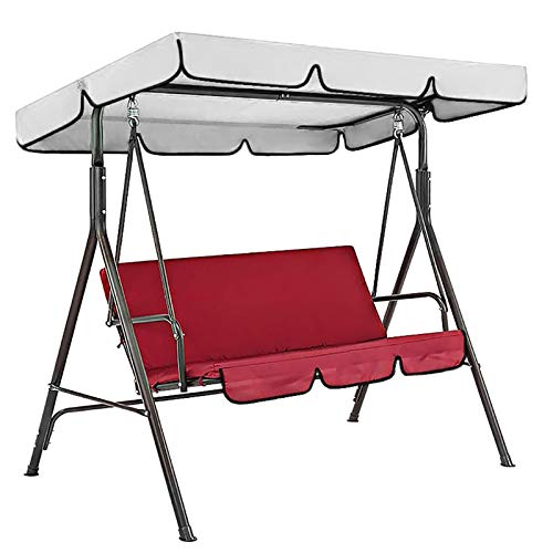 Gpure Patio Swing Replacement Cushions & Cover For 3-Person Outdoor Canopy Swing Patio Swing Chair Replacement Cover Garden Seater Sun Shade Porch Swing Seat Pads For Poolside Balcony Swings
