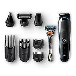 Braun Kit Tondeuse Polyvalente, Noir/Bleu – Tondeuse De Précision9En1 Pour Une Stylisation De La Barbe Et Des Cheveux