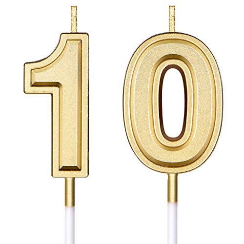 10th Birthday Candles Cake Numeral Candles Happy Birthday Cake Candles Topper Decoration for Birthday Wedding Anniversary Celebration Supplies (Gold)