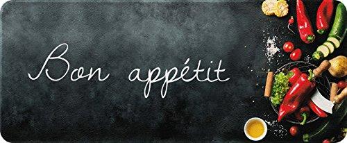 ID MAT Decor de Cuisine 'Bon Appetit Decor de Cuisine, Fibres Synthétiques, Noir, 50x120x0, 4 cm