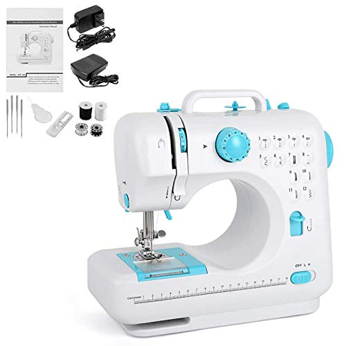 Electric Sewing Machine Portable Mini Sewing Machine Small Household Sewing Handheld Tool with 12 Built-in Stitches 2 Speeds LED Light Overlock Function for Amateurs Beginners Embroidery Blue