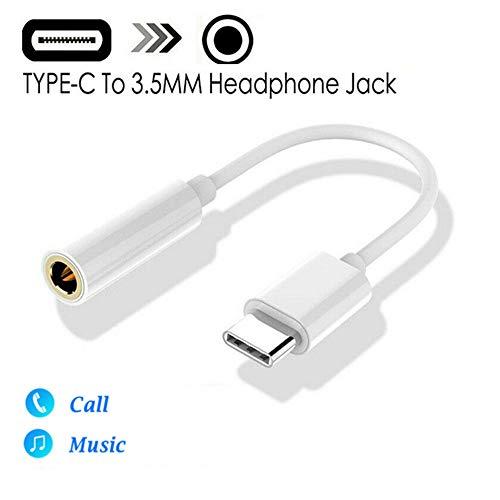 Adaptador de Auriculares AUX USB Tipo C a 3.5 mm Compatible con Huawei Mate 20 P30 Pro, Xiaomi Mi 8 9 SE y más teléfonos (Blanco)