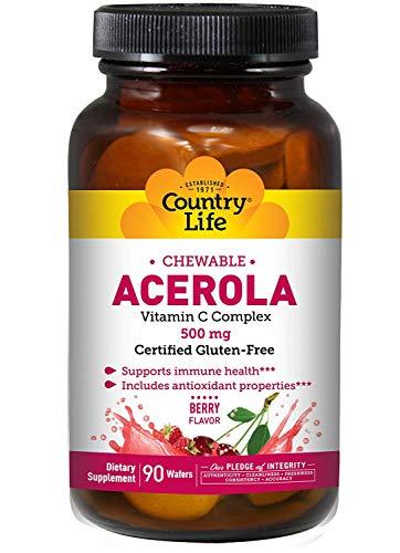 Acerola, la vitamine C à croquer, Cerise, 500 mg, 90 Wafers - Country Life