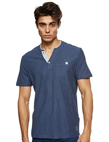 TOM TAILOR Herren Kurzarm Henley T-Shirt, 16061-Cyber Grey Yarndye S, XXXL