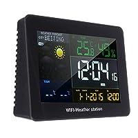 屋外リモートセンサー付きWIFIワイヤレスウェザーステーションスヌーズ目覚まし時計温度、湿度、気圧計アラム時計