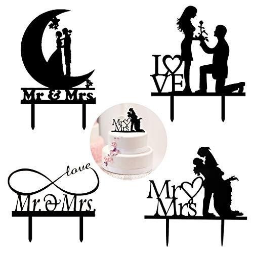 Amycute 4 Stück Wedding Silhouette Set Cake Decorating, Mr Mrs Kuchenaufsätze,Tortenstecker, Tortefigur Acryl, Hochzeitstorte Topper Kuchendeckel für Verlobung Party Aniversary Kuchen Dekorationen.