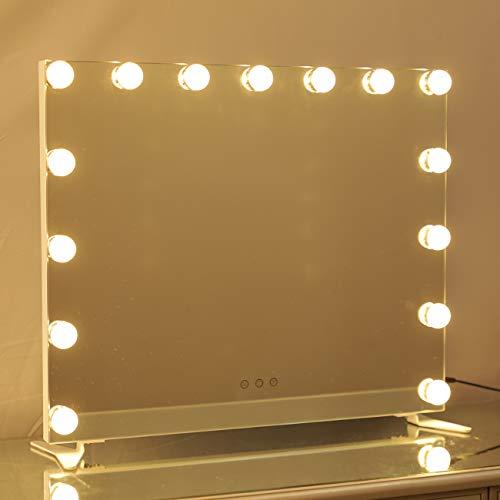 DAYU Tischspiegel Hollywood Speigel mit Beleuchtung Kosmetikspiegel Schminkspiegel Theaterspiegel mit Licht 3 Farbtemperatur dimmbare LED für Wohnzimmer, Schlafzimmer, Kosmetikstudio